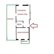 Planimetry 2 rooms in Milano